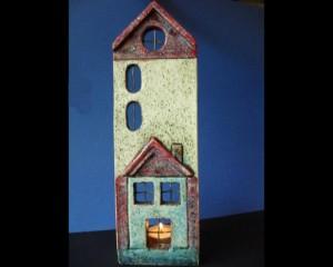 Κεραμικό κηροπήγιο σπιτάκι, κεραμίδι 7,5x28