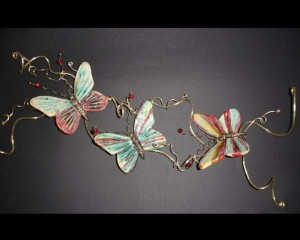 Brass wire with ceramic butterflies