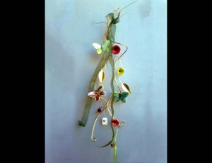 Brass wire with ceramic butterflies and flowers