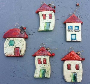Ceramic houses for wall