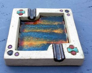 Ceramic square ashtray